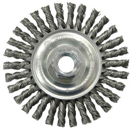 RADNOR carbon steel knot wire wheel brush on white background.