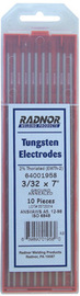 Package of RADNOR tungsten electrode ground on white background.