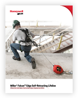 A worker with a Falcon Edge Self-Retracting Lifeline kneels on a ledge.
