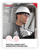 A worker wearing a Honeywell hardhat, eye gear, gloves and earplugs operates a machine.