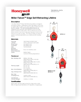 A data sheet featuring two diagrams of the Falcon Edge Self-Retracting Lifeline against white.