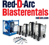 Red-D-Arc Blasterentials logo and images of various blasting machines