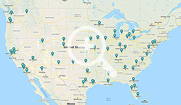 Map of Airgas Dry Ice locations