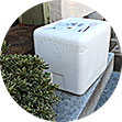 Airgas Dry Ice delivery container on a doorstep