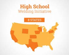 U.S. Map graphic showing state locations of schools participating in the Airgas Welding Initiative