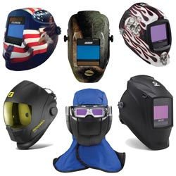Welding Helmets on white background
