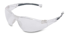 A pair of Honeywell Uvex Safety Glasses against white.