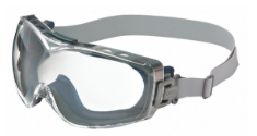 A pair of Honeywell Uvex Safety Goggles against white.