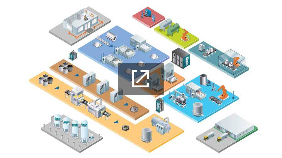 Isometric illustration of a metal fabrication shop.