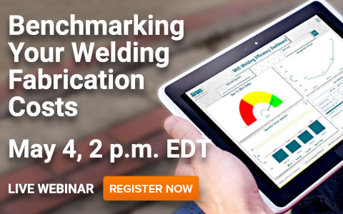 Hands holding and iPad horizontally looking at a MIG Welding Efficiency application with the messaging: Live Webinar. Benchmarking Your Welding Fabrication Costs. Register now.