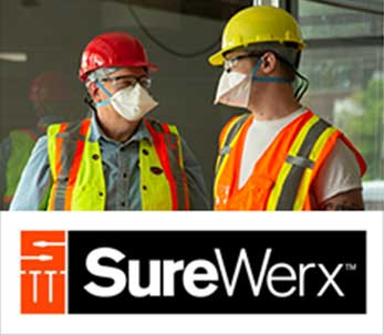 Models wearing SureWerx Safety Products and the SureWerx logo displayed on a white background
