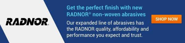 Spotlight banner promoting RADNOR abrasives.