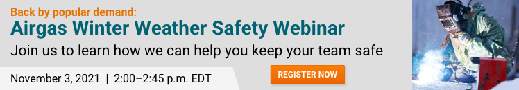 Banner with link to register for the Airgas Winter Weather Safety Webinar
