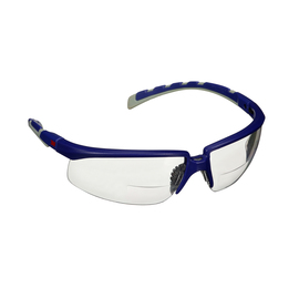 3M™ Solus™ 2000 Series, S2020AF-BLU, Blue/Gray Temples, Clear Reader +2.0 Anti-Fog/Anti-Scratch Lens
