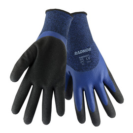 RADNOR® Small Blue And Black 15 Gauge Polyester 7 Gauge Acrylic Terry Lined Cold Weather Gloves With Double Dipped Latex 3/4 Coating