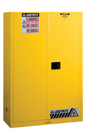 Justrite® 45 Gallon Yellow Sure-Grip® EX 18 Gauge Cold Rolled Steel Safety Cabinet With (2) Manual Close Doors And (2) Shelves (For Flammables)