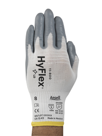 Ansell Large HyFlex® Light Weight Foam Nitrile Work Gloves With Gray/White Nylon Liner And Knit Wrist