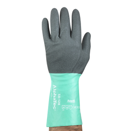 Ansell Size 8 Light Glass Green And Anthracite Gray AlphaTec® Nylon Lined Nitrile Chemical Resistant Gloves