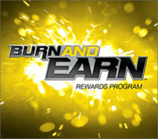 The Burn and Earn logo overlayed on a background of blowing sparks