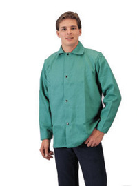 Radnor® X-Large Green Cotton Flame Resistant Jacket With Snap Front Closure