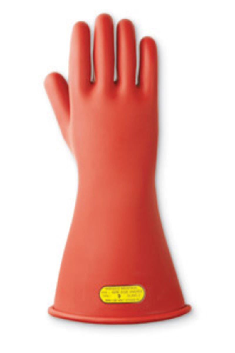 High Voltage Rubber Gloves : Airgas ane ansell size red quot marigold