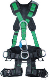 MSA Medium Green Gravity® Full Body Suspension Harness With Quick Connect Leg Strap Buckle, Aluminum D-Ring Hardware And Carabiner