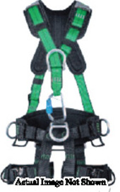 MSA Medium Black Gravity® Full Body Suspension Harness With Quick Connect Leg Strap Buckle, Aluminum D-Ring Hardware And Carabiner