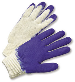 RADNOR® Large 7 Gauge Blue Rubber Palm And Finger Coated Work Gloves With White Cotton And Polyester Liner And Knit Wrist
