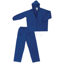 MCR Safety® Blue Challenger .18 mm Nylon And PVC 2-Piece Rain Suit With Attached Billed Hood And Elastic Waist Pants