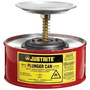 Justrite® 1 Quart Red Galvanized Steel Safety Plunger Can With 5