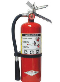 Amerex® 6 Pound Stored Pressure ABC Dry Chemical 3A:40B:C Multi-Purpose Fire Extinguisher For Class A, B And C Fires With Anodized Aluminum Valve, Wall Bracket, Hose And Nozzle