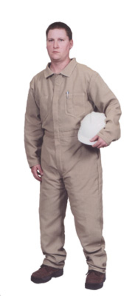 97074e0f4b5a Stanco Safety Products™ Small Tan Indura® UltraSoft® Arc Rated Flame  Resistant Coveralls With
