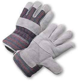 Radnor Large Economy Grade Split Leather Palm Gloves With Canvas Back And Safety Cuff