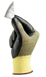 Ansell Size 10 HyFlex® 11-510 Light Duty Cut Resistant Black Foam Nitrile Palm Coated Work Gloves With Yellow DuPont™ Kevlar® And Nylon Liner And Knit Wrist