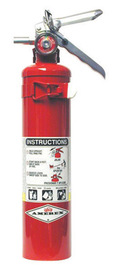 Amerex® 2.5 Pound Stored Pressure ABC Dry Chemical 1A:10B:C Multi-Purpose Fire Extinguisher For Class A, B And C Fires With Anodized Aluminum Valve, Wall Bracket And Nozzle