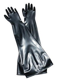 Honeywell Size 9 3/4 Black Glovebox 15 mil Unsupported Butyl Chemical Resistant Gloves