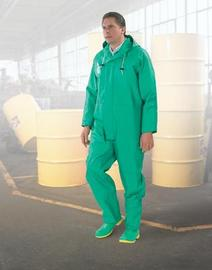 Dunlop® Protective Footwear Small Green Chemtex .42 mm PVC/Nylon/Polyester Coveralls With Attached Hood