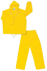 MCR Safety® Yellow Challenger .18 mm Nylon And PVC 2-Piece Rain Suit With Attached Billed Hood And Elastic Waist Pants