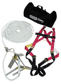 MSA Standard Roofer's Kit (Includes Standard Workman® Vest-Style Harness With Qwik-Fit Leg Straps, 50' Rope Lifeline With Trailing Rope Grab, Roof Anchor And Storage Bag)