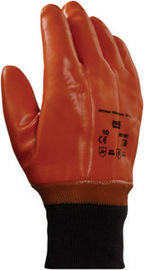 Ansell Size 10 Brown Winter Monkey Grip™ Jersey Lined Cold Weather Gloves With Wing Thumb, Knit Wrist, PVC Fully Coated And Foam Insulation