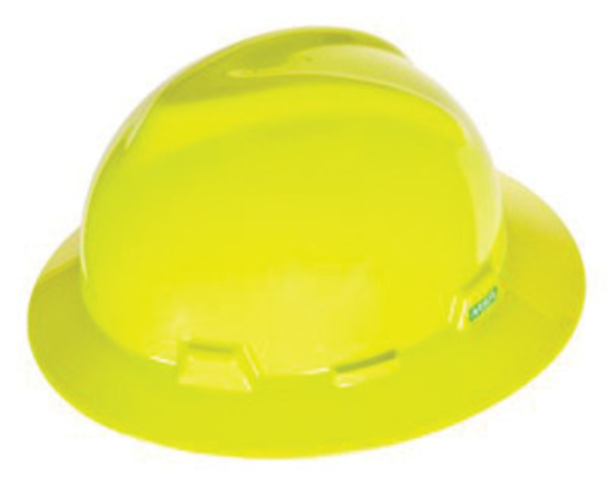 MSA Yellow Green Polyethylene Full Brim Hard Hat With 4 Point Ratchet  Suspension 36745235ad0