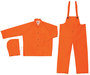 MCR Safety® Orange Classic .35 mm Polyester And PVC 3-Piece Rain Suit With Detachable Hood And Bib Pants