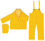 MCR Safety® Yellow Classic Plus .35 mm Polyester And PVC 3-Piece Rain Suit With Detachable Hood, Bib Pants And Corduroy Collar