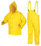 MCR Safety® Yellow Wizard .28 mm Nylon And PVC 3-Piece Rain Suit With Detachable Hood And Bib Pants