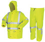 MCR Safety® Large Fluorescent Lime Luminator™ .40 mm Polyurethane And Cotton/Polyester Blend 2-Piece Rain Suit With Attached Hood And Elastic Waist Pants