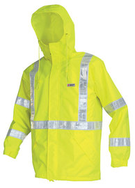 MCR Safety® Fluorescent Lime Luminator™ Polyester And Polyurethane Jacket With Attached Hood And Hi Viz Stripes