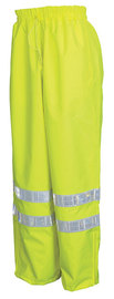 MCR Safety® Fluorescent Lime Luminator™ Polyester And Polyurethane Pants With Hi Viz Stripes, Elastic And Drawstring Waist