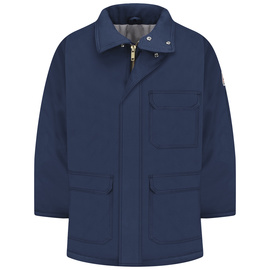 Bulwark® 3X Regular Navy Cotton Nylon Flame Resistant Jacket Cotton Lining With Zipper Snap Closure
