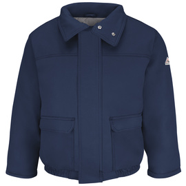 Bulwark® Large Regular Navy Cotton Nylon Flame Resistant Jacket Cotton Lining With Concealed Snap Closure