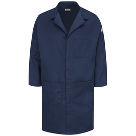 Bulwark® Large Regular Navy Cotton Nylon Flame Resistant Lab Coat With Snap Closure